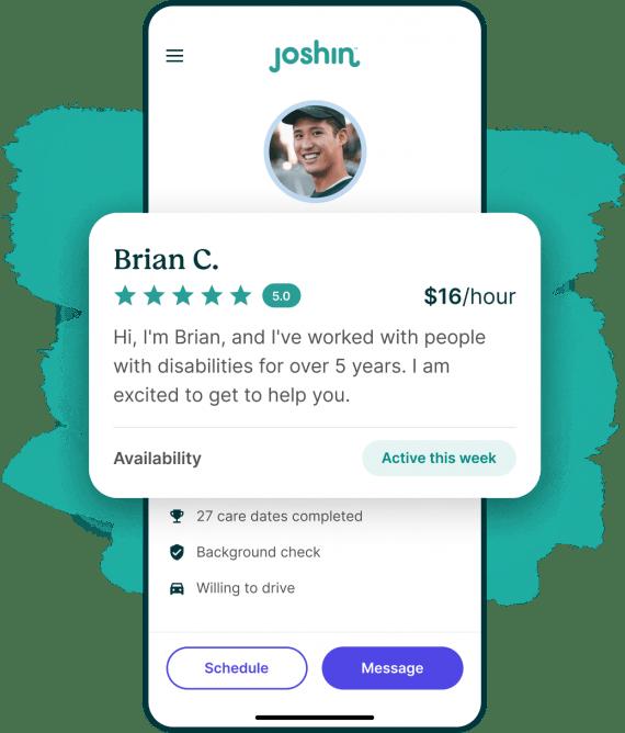 An iPhone screen displaying a Joshin caregiver profile.