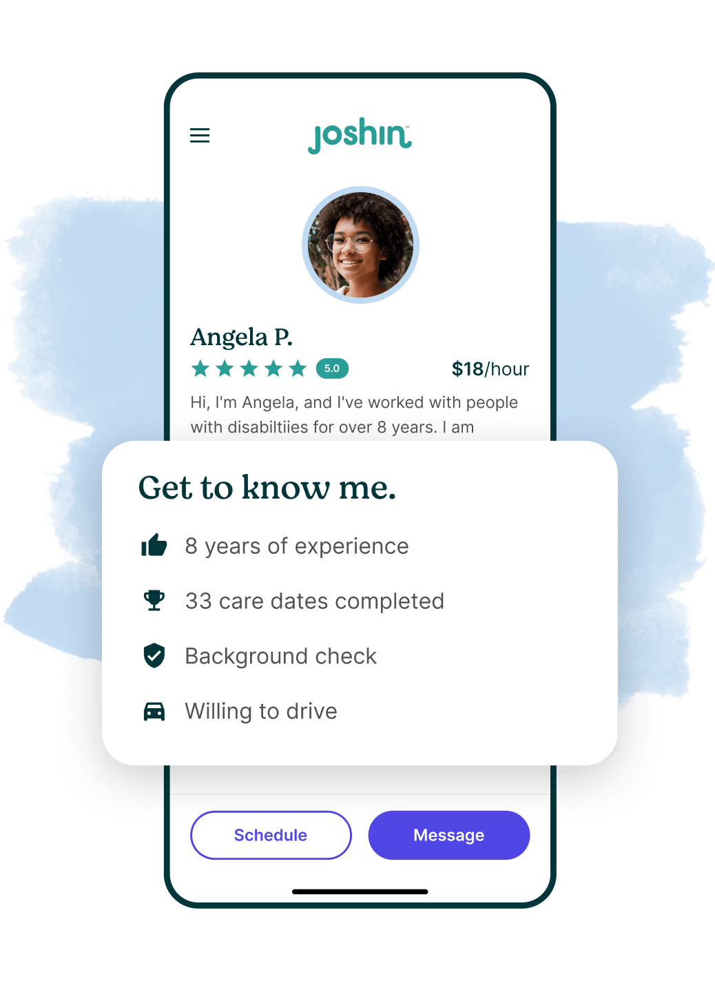 A phone screen displaying a caregiver profile page.